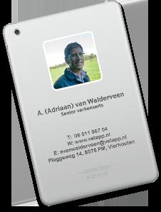 Visitekaartje Adriaan van Walderveen